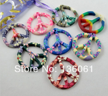 10pcs Vintage Mixed Polymer Fimo Clay Peace Sign Slide Charms Pendants For Jewelry Making Findings Bracelets Handmade DIY P1809
