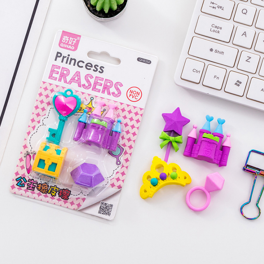 4pcs/pack Cute Castle Series Princess Eraser Non-toxic Soft Rubber Eraser Cartoon Gifts Pencil Eraser Reward Gifts For Student