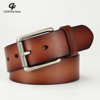 87aec54a63 Men Male Casual Business Genuine Real Leather Belts High Quality Male Brand  Automatic Ratchet Buckle Belt. Homens Masculino Business Casual Genuína  Cintos ...