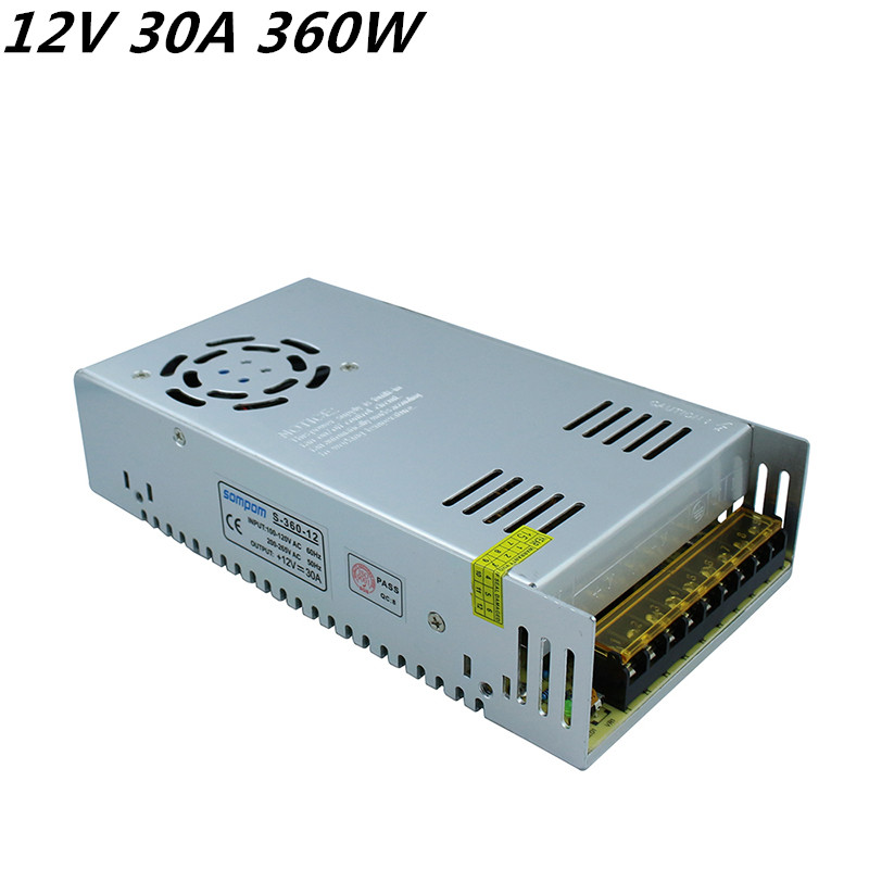 цена на DC12V 30A 360W Switching led transformer DC Power Supply non-waterproof led driver for 3528/5050 LED strip light block power
