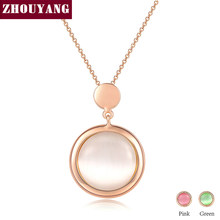 ZHOUYANG Pendant Necklaces for Women Pink Green Opal Cats Eye Stone Rose Gold Color Wedding Gift Fashion Jewelry N593 N596 N598(China)