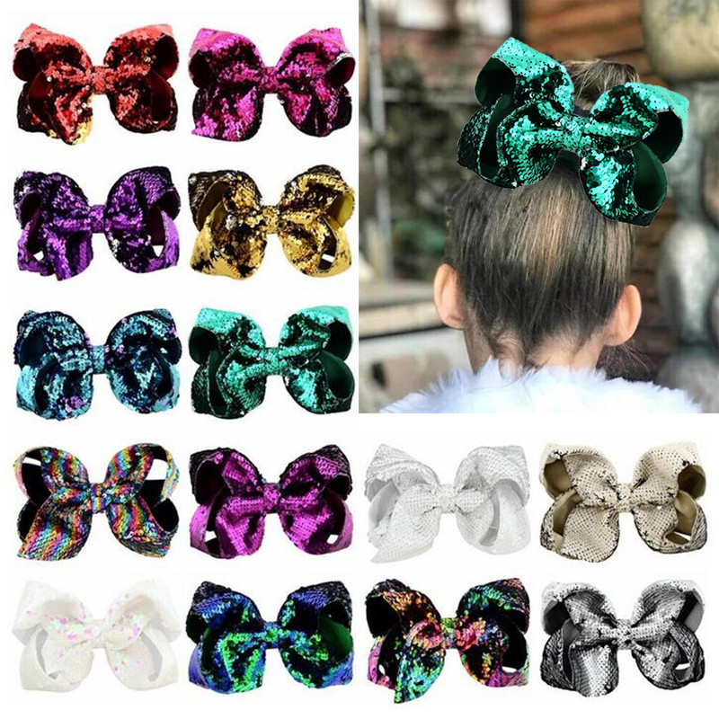 8'' Hot Sale Kids Girls Bling Bling Large Big Bow Hair Clips Sequins Alligator High Quality Hair Accessories Bow-knot Headwear