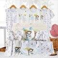Set de regalo ropa de bebé recién nacido ropa de verano fijó el algodón 100% de manga corta de los bebés varones y niñas juegos de la ropa de 18 unidades conjunto