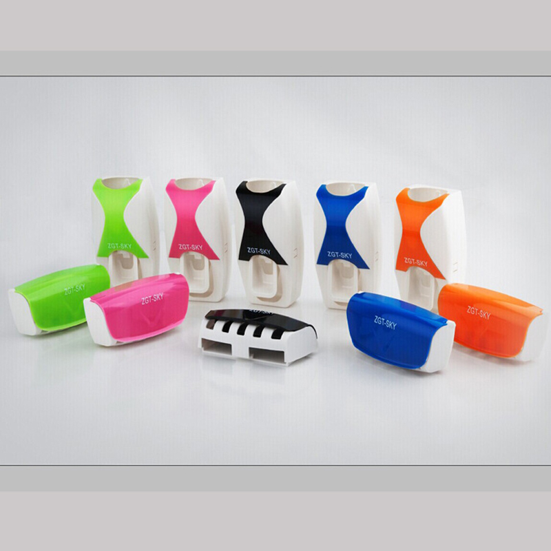 Automatic Toothpaste Dispenser 5pcs Toothbrush Holder Squeezer Bathroom Shelves Bath Accessories Tooth Brush Holder Wall Mount 1