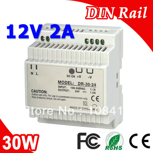 DR-30-12 LED Din Rail Switching Power Supply 12V 2A 30W Output modern copper wall lamps villa hotel crystal wall light study bedroom led wall lamp modern led lamp bathroom crystal wall light