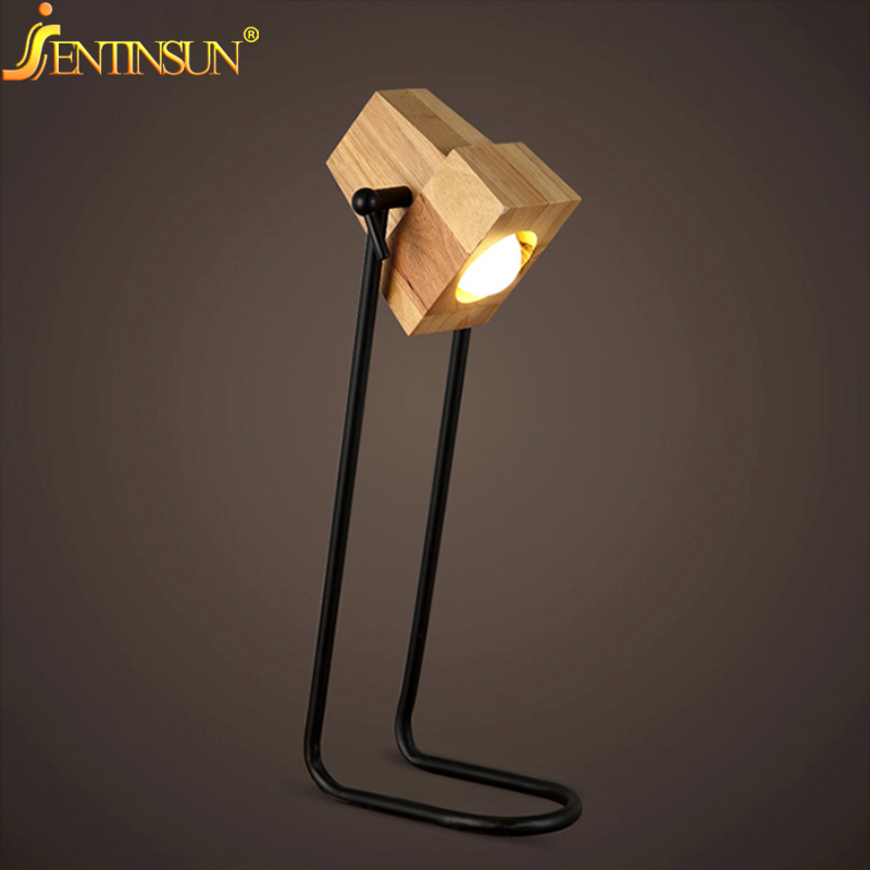 Фотография 2016 New Creative Art Deco Wooden Table Desk Lamp Modern Industrial LED Wood Lamps for Student Study Light Bedside Reading Light