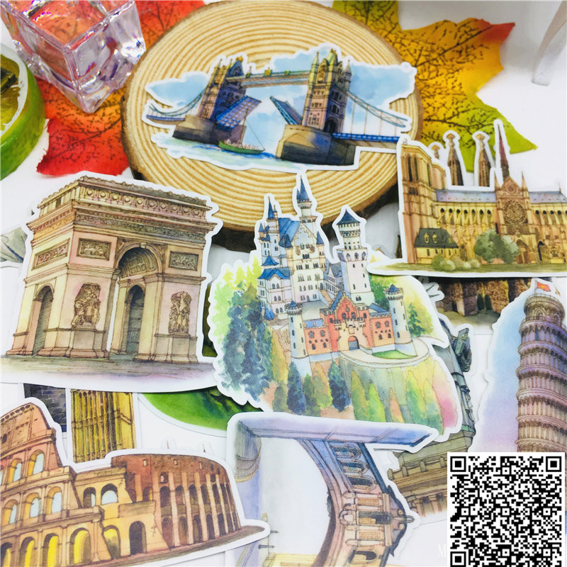 15 Pcs Beautiful Building Stickers For Car Styling Bike Motorcycle Phone Book Travel Luggage Toy Funny Sticker Bomb Decals