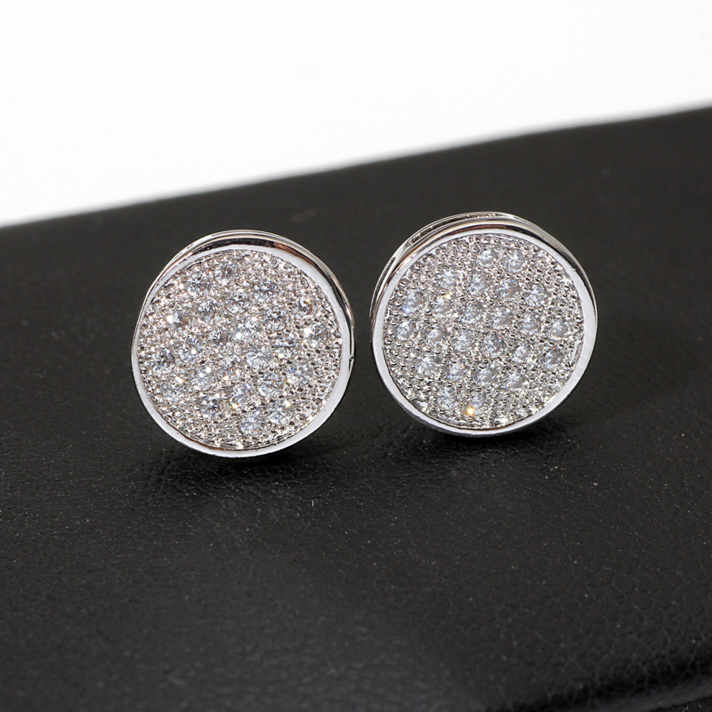 Platinium 10mm Round Micro paved zircon stud earrings for ...