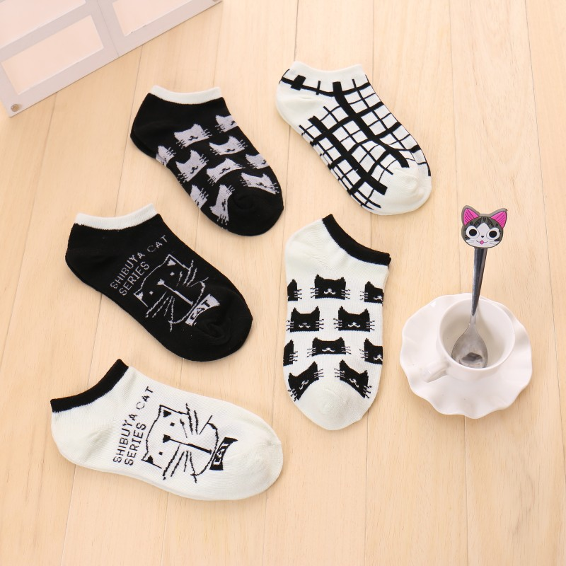 Korean Version Fshion Shallow Mouth Plaid Cotton Short Sock Cartoon Cat Head Breathable Women Comfortable Leisure Short Sock