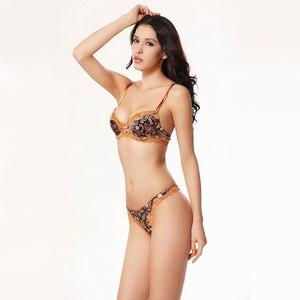 Image 4 - Balaloum נשים סקסי פרחוני תחרה פרח Pirint לדחוף את חזיית ריינסטון חזייה ותחתוני סטי חלקה T חוטיני הלבשה תחתונה