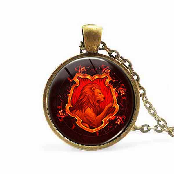 US movie vintage 2017 <font><b>Hogwarts</b></font> School seal <font><b>Necklace</b></font> 1pcs/lot bronze or steel Glass Pendant jewelry chain iron man women fashion image