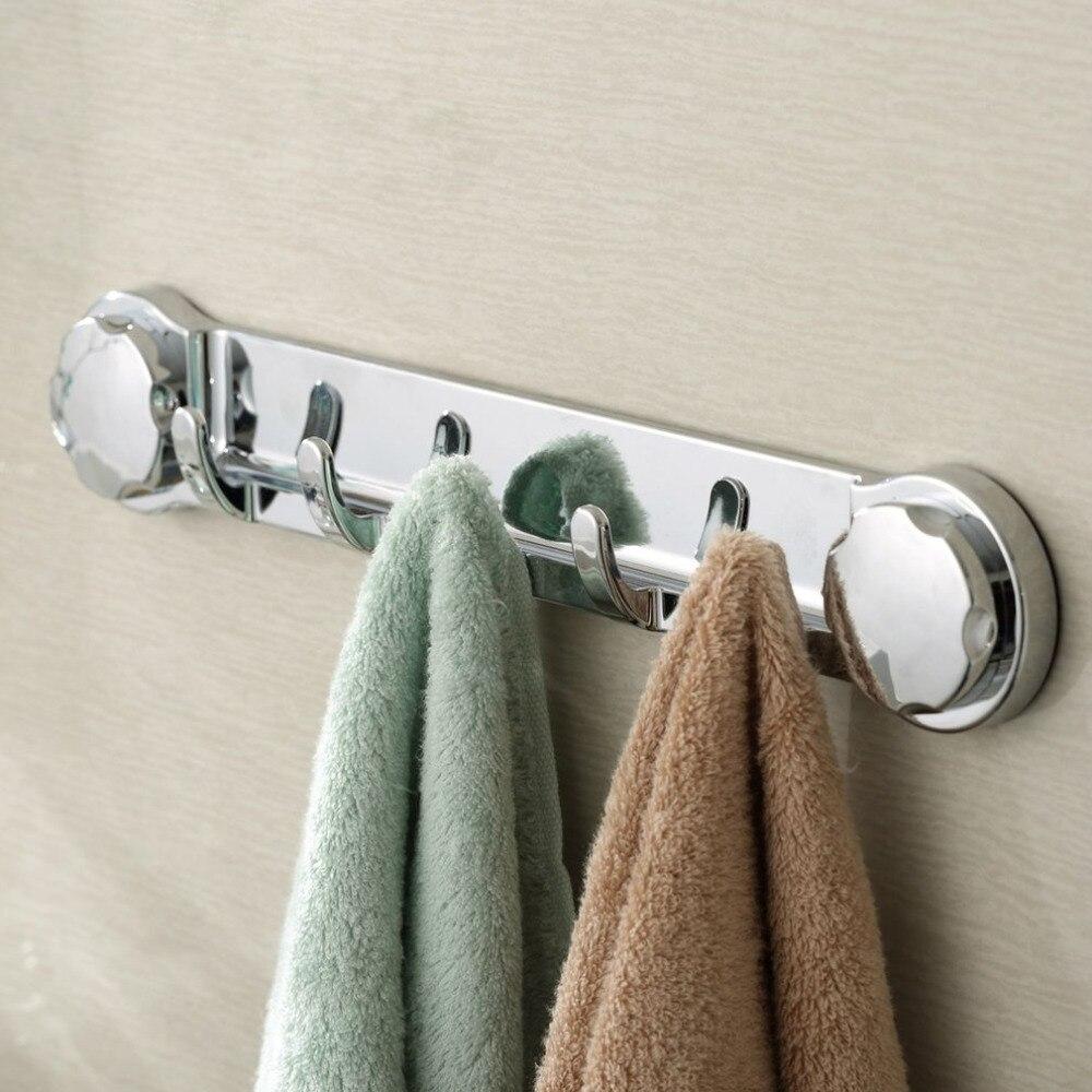 Multifunctional Bathroom Sucker Hook Wall Holder Hanger Towel Robe Storage Chromed Strong Suction Removable Chrome Color / White