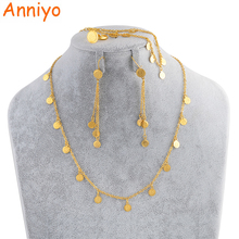 Anniyo Small Coin Jewelry Set for Girls,Necklace Earring Bracelet Ring Gold Color Arab Jeweler Metal Coins for Kids #049706