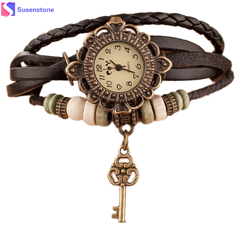 2018 Hot Quartz Weave Around Leather Key Bracelet Lady Woman Girl Wrist Watch