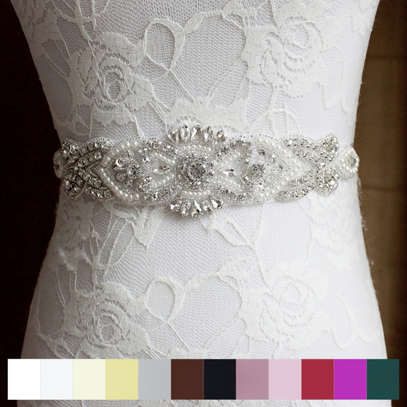 Rhinestone Bridal Waist Belt Satin Ribbon Trim Applique Wedding Dress Gown Decor