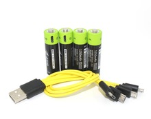 New technology! 4pcs ZNTER 1.5V AA 1250mAh li-polymer li-po rechargeable lithium li-ion battery with USB cable pack