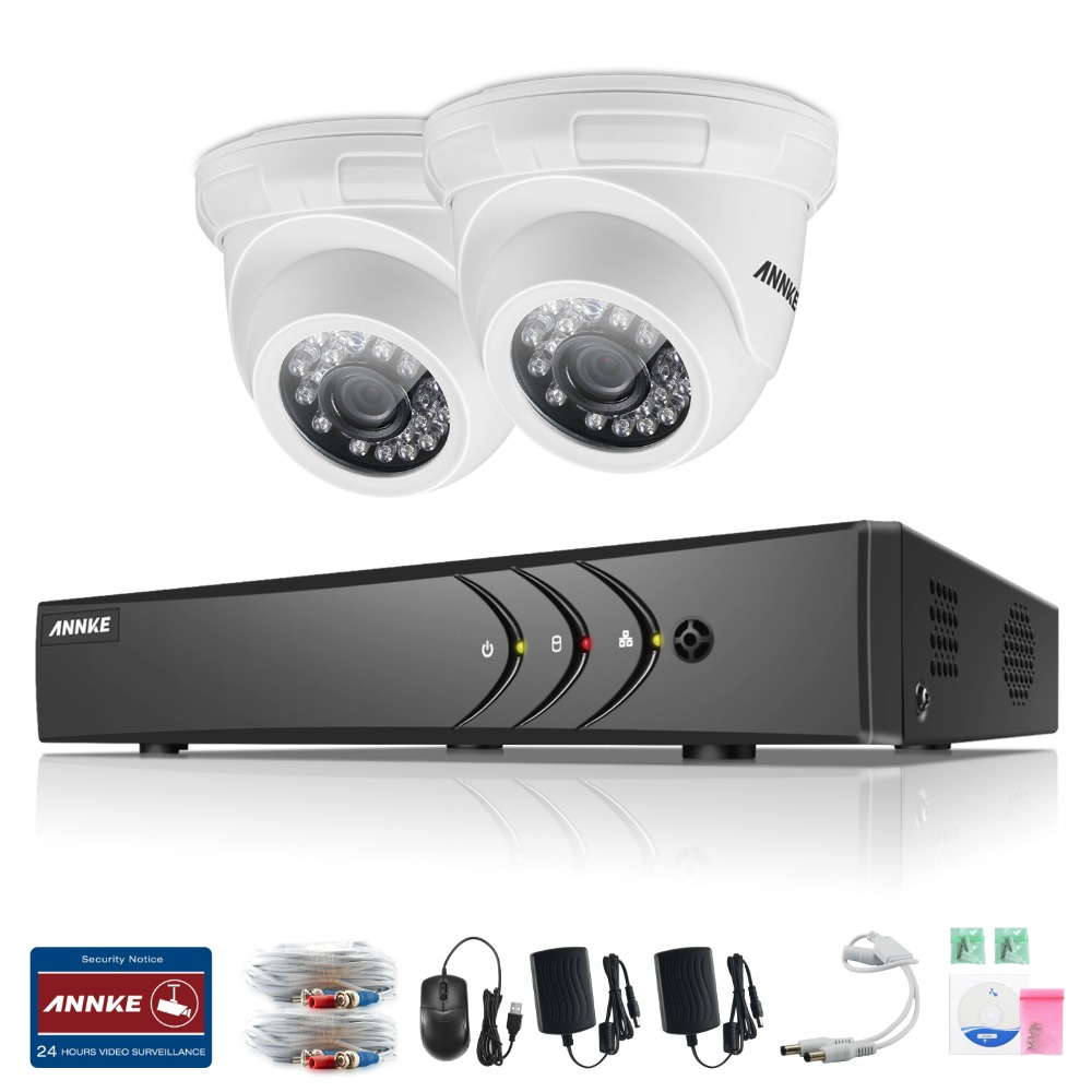 ANNKE 4CH 720P HDMI CCTV Recording DVR 2PCS 1.0MP Outdoor TVI IR Security Camera System 4 Channel Video Surveillance Kit