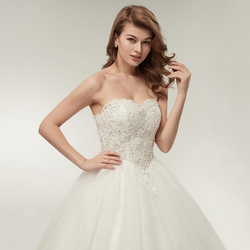 Fansmile 2019 Elegant Luxury Lace Wedding Dress Vintage Ball Gowns Vestido De Noiva Plus Size Customized FSM-502F 4