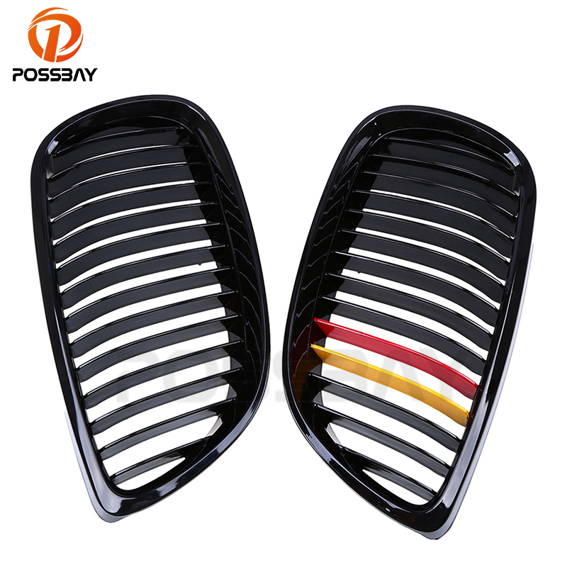 POSSBAY Fit for BMW 3-Series E92 Coupe 2006-2010 Pre-facelift Gloss Black M-color Kidney Auto Car Grille Grill Car AccessoriesPOSSBAY Fit for BMW 3-Series E92 Coupe 2006-2010 Pre-facelift Gloss Black M-color Kidney Auto Car Grille Grill Car Accessories