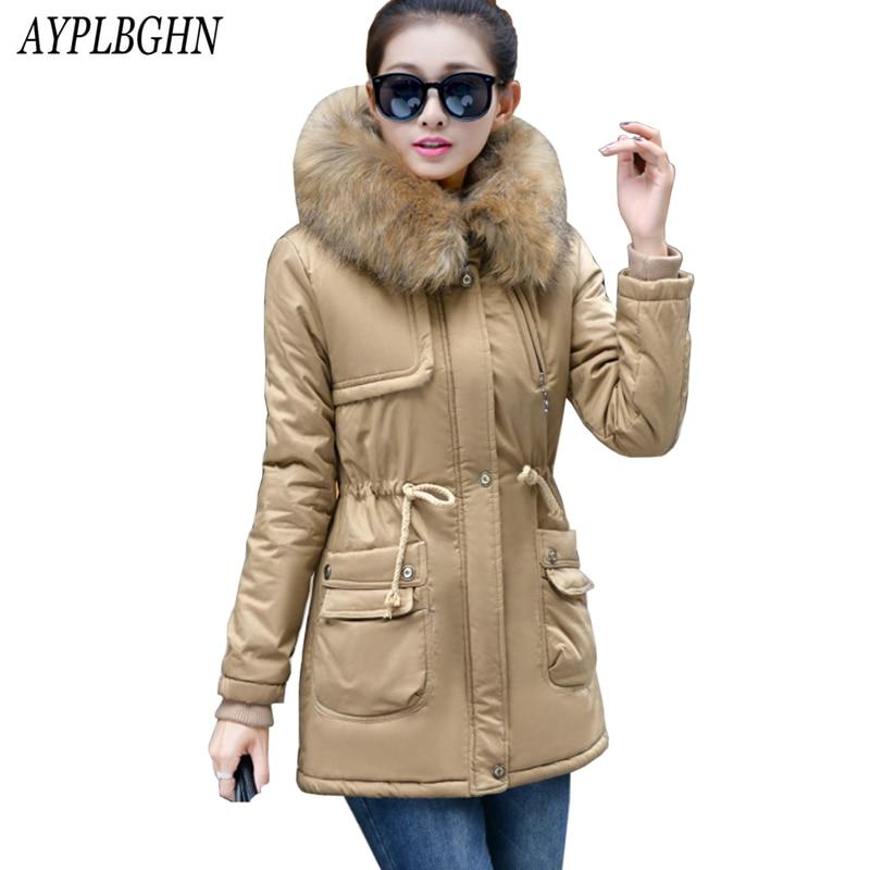 2017 Parkas Women Coats Fashion Warm Winter Jackets Women Fur Collar Long Parka Plus Size Hoodies Casual Cotton Female Outwear