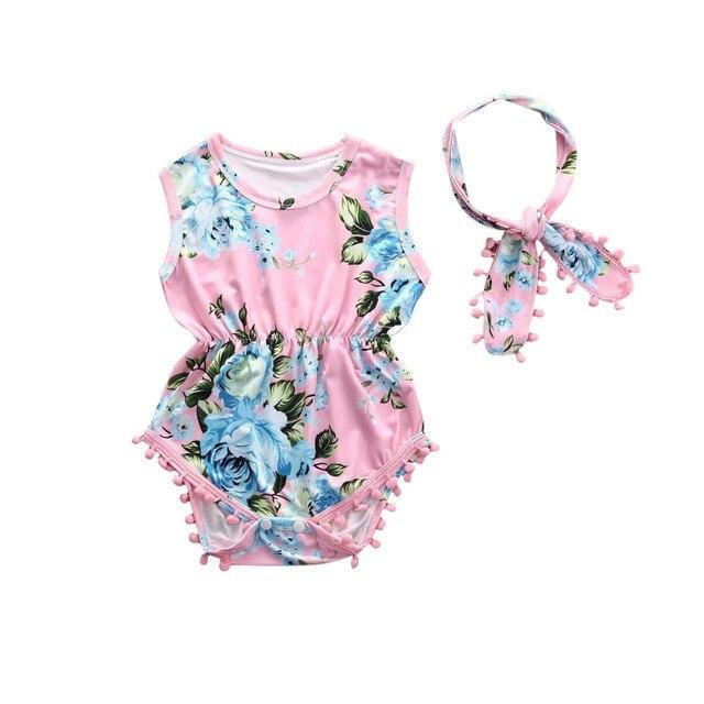 3123a48150398 2 Pcs ensemble Nouveau-Né Infantile Bébé Fille Floral Barboteuse Sans  Manches Gland Salopette