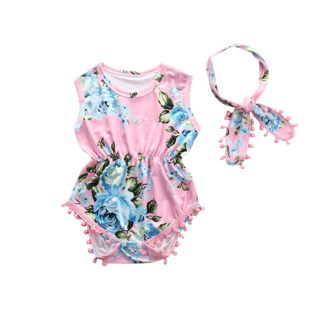 3710c9a02fc6 2Pcs Set Newborn Infant Baby Girl Floral Romper Sleeveless Tassel Jumpsuit  +Headband Sunsuit Outfits Clothes