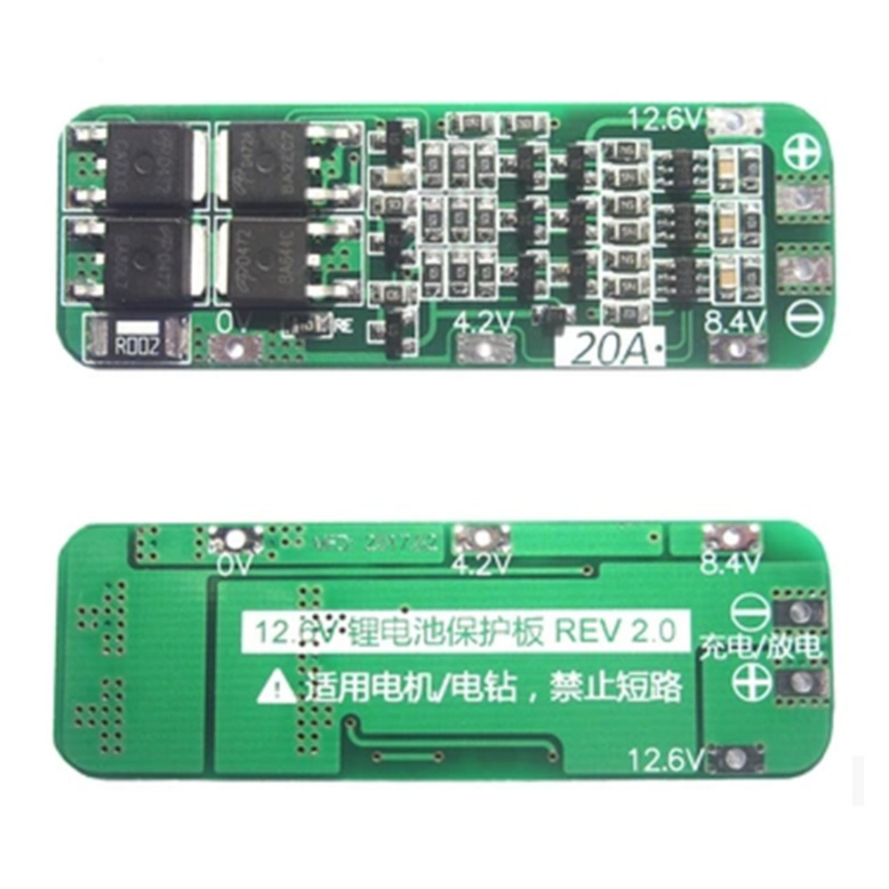 Modules 2017 New High Quality 3S 20A 12.6V Cell 18650 Li-ion Lithium Battery Charger BMS Protection PCB Board Module in 2500mah with protection board 554858 12v lithium polymer battery monitor 11 1v 605060 li ion cell