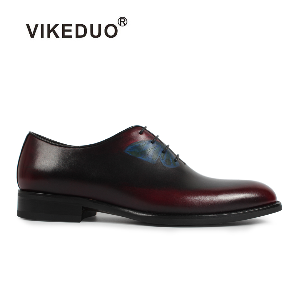2018 Vikeduo Vinatge Retro Mens Oxford Shoes Butterfly Handmade 100% Genuine Leather Wedding Party Dress Office Unique Design 2017 vintage retro custom men flat hot sale real mens oxford shoes dress wedding party genuine leather shoes original design