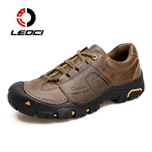 Men Mountain Climbing Shoes Non-slip Trekking Boots Male Hiking Shoes Genuine Leather Outdoor Men Shoes Tactical Shoes Sneakers