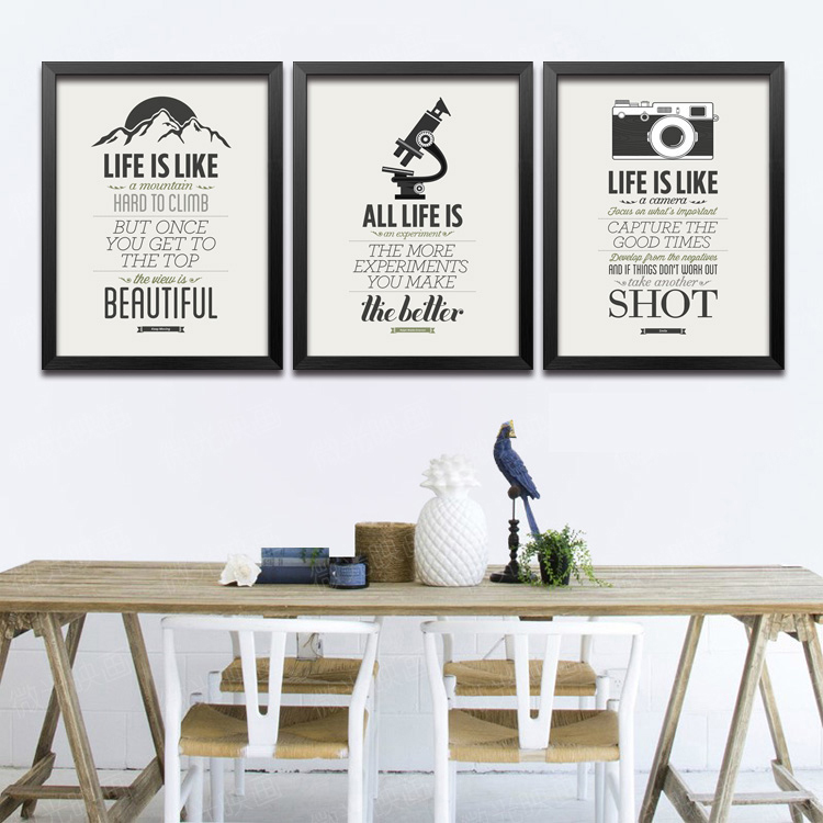 Modern poster style picture black white letter classic living room ...