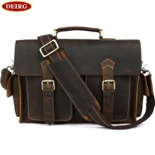 Cool Vintage Cowhide Men Briefcase Genuine Leather Multifunction Tote And Crossbody Bag Fit For 13 Inch Laptop PR081088