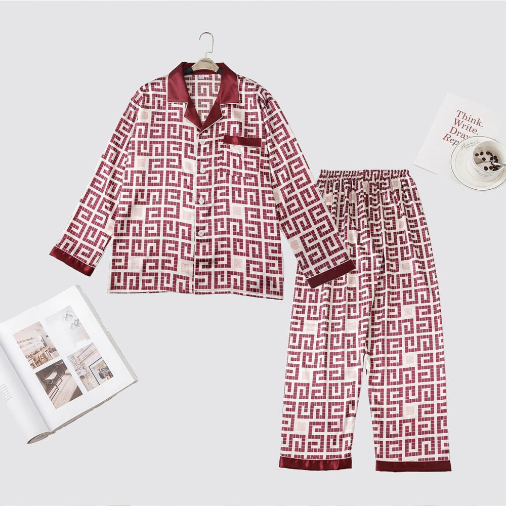 Print Men Long Sleeve Shirt+Pants 2PCS Sleep Set Casual Silky Satin Nightwear Turn-Down Collar Pajama Pijama Suit Male Pyjamas