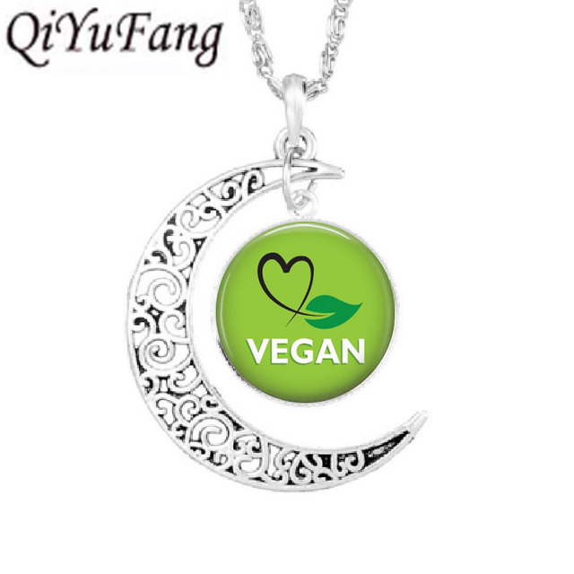 Vegan diet jewelry vegetarian diet pendant go organic necklace Herbivore go vegan Moon necklaces paleo diet Chain charms silver