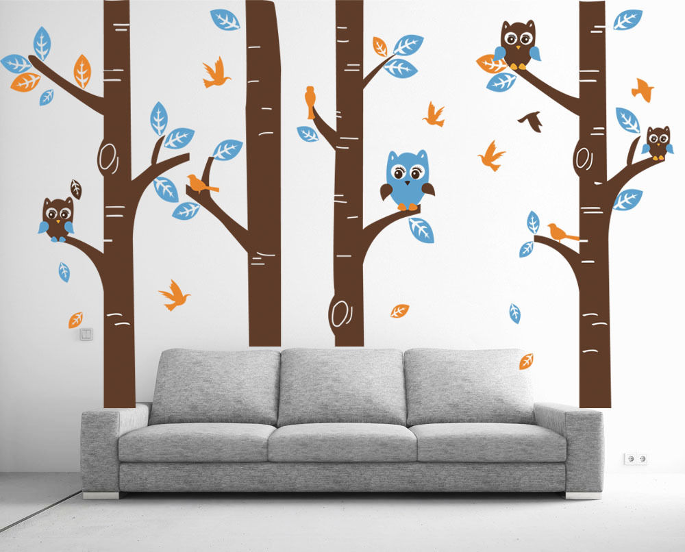 Wild birch forest with owls vinyl wall decal - Wall Stickers Owl Bird Tree Decor Largest Removable Vinyl Decal Nursery Children S Baby Bedroom Free Shipping