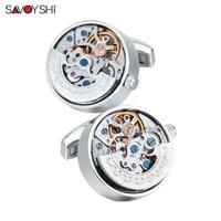 SAVOYSHI Functional Watch movement Cufflinks for Mens Shirt Cuff Steampunk mechanical Gears Cufflinks High Quality Jewelry