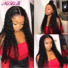 Curly Human Hair Wig Glueless Lace Front Human Hair Wig With Baby Hair Pre Plucked Malaysian Curly Hair 150 Density Full End Wig(China)