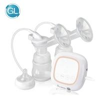 GL Double Electric Breast Pump Silicone BPA Free Enlargement Suction Breast Milk Pump Powerful Baby Feeding Pump 160ML Bottles