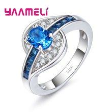 Anillo de dedo de plata 925 pura para mujer y niña, brillante, cristal azul claro, regalo, joya para mujer y niña, Reta al por mayor