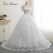 Robe de mariée de qualité à col bateau manches courtes, robe de mariée européenne en dentelle avec des Appliques, W0334