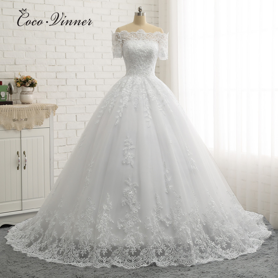 Short Sleeve Boat Neck Quality Europe Ball Gown Wedding Dresses 2019 Lace Appliques Princess Wedding Dress Bridal Gown W0334-in Wedding Dresses from Weddings & Events    1