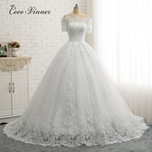 Short Sleeve Boat Neck Quality Europe Ball Gown Wedding Dresses  Lace Appliques Princess Wedding Dress Bridal Gown W0334