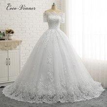 Manga corta cuello barco calidad Europa vestido de baile vestidos de boda Apliques de encaje Boda de Princesa vestido de novia W0334
