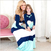 Mommy and me fashion Long sleeve Autumn dress 2017 Mother & kids New Striped Mother daughter dresses family matching outfits
