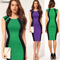 2016 nuevo de las mujeres sexy summer dress ladies elegante sin mangas del remiendo del o-cuello back zipper adelgaza bodycon pencil dress s-3xl