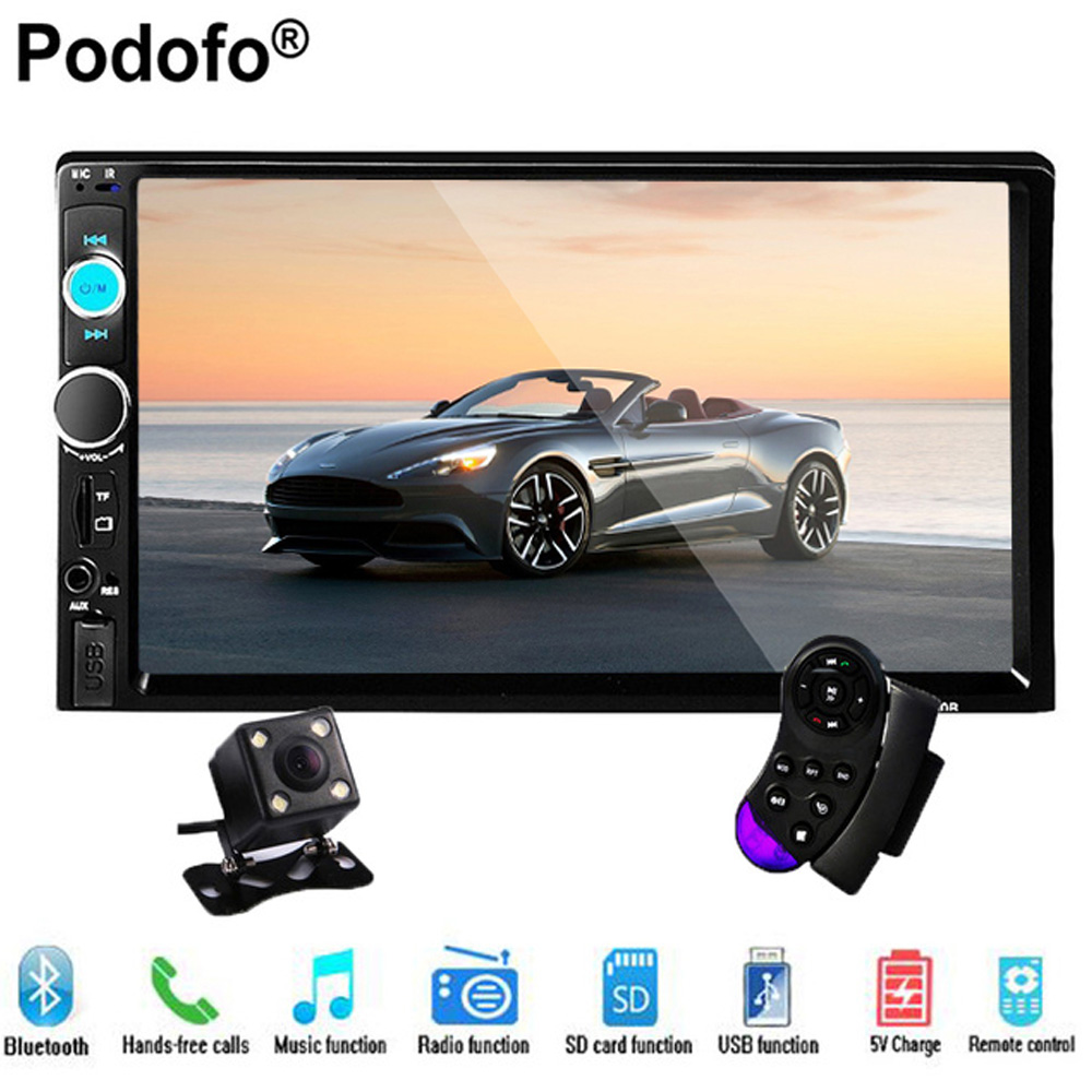 Podofo 2 Din Car Radio Stereo Player Bluetooth AUX-IN MP3/FM/USB/Remote control 7 Touch Screen Car audio With Rear View Camera car mp5 player with rearview camera gps navigation 7 inch touch screen bluetooth audio stereo fm function remote control