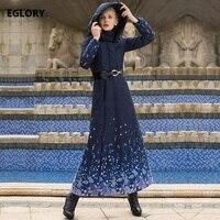 XXXXL Women New Long Cotton Coat Winter 2017 Femme Hooded Dark Blue Floral Print Plus Size