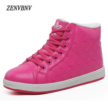 ZENVBNV New Snow women csual Shoes Lace Up Women Rain Boots Female Thick Warm winter Shoes Ankle Pu leather shoes for women