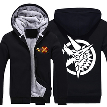 Mens Casual Game Monster Hunter 4 Zinogre Hoodies Zip up Thick Winter Super Warm Sweatshirts Coats