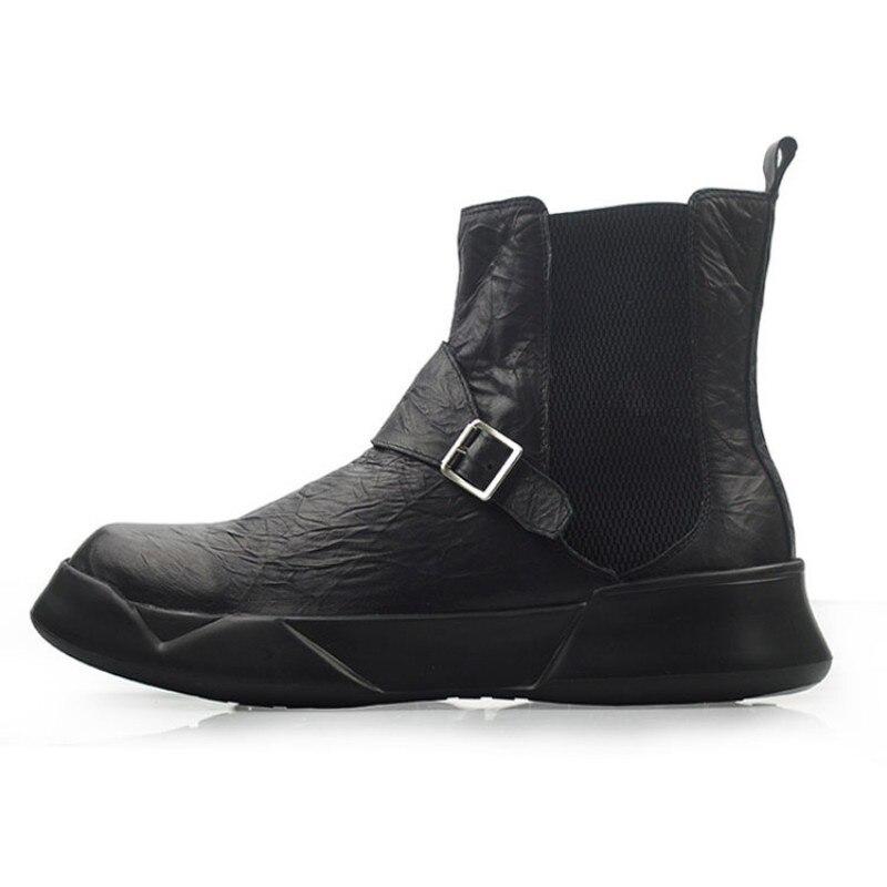 Britannique rétro 100% cuir véritable Chelsea bottes hommes automne hiver décontracté sans lacet bottines noir haut plate forme chaussures 38 44 - 3