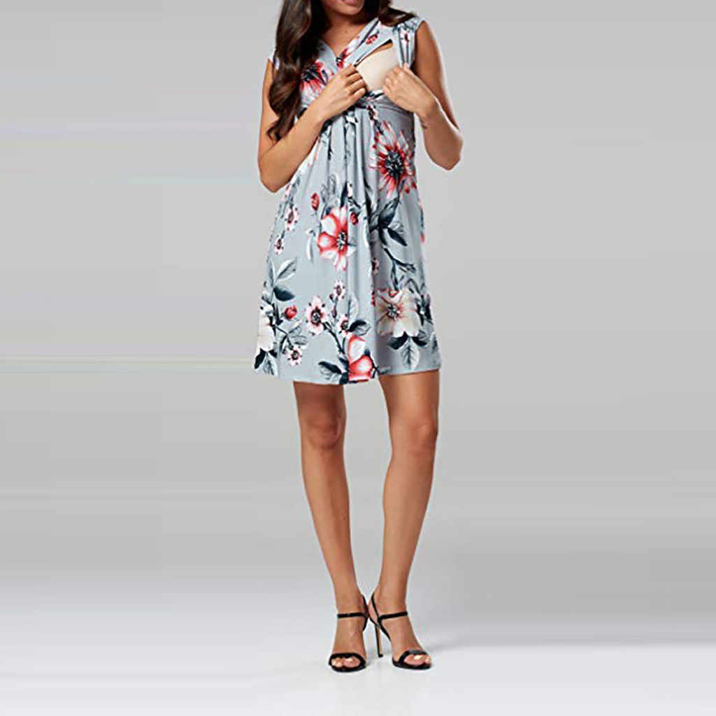 231f76f25dd51 ... 2019 Summer Pregnant Women Nursing Dress Clothes Women Sleeveless  Pregnant Maternity Dress Flower Nursing Pregnancy Casual ...